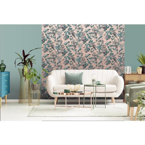 Dutch Wallcoverings Behang Escapade Palm/Vogel Groen/Zilv L698-04