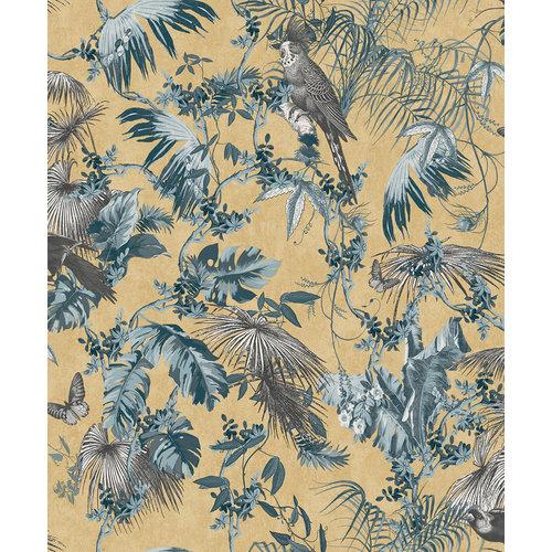 Dutch Wallcoverings Behang Escapade Palm/Vogel Blauw/Goud L698-01