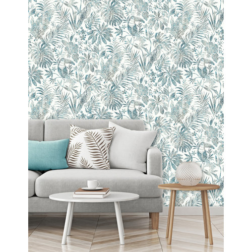 Dutch Wallcoverings Behang Escapade Toekan/Papegaai Blw/Grijs L685-01