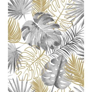Dutch Wallcoverings Behang Escapade Palmbladeren Zwart/Goud L604-09