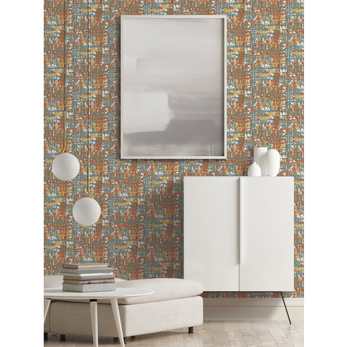Dutch Wallcoverings Behang Embellish Fabric Abstract Multi De120098