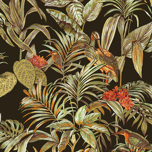 Dutch Wallcoverings Behang Embellish Bird Of Paradise Black De120015
