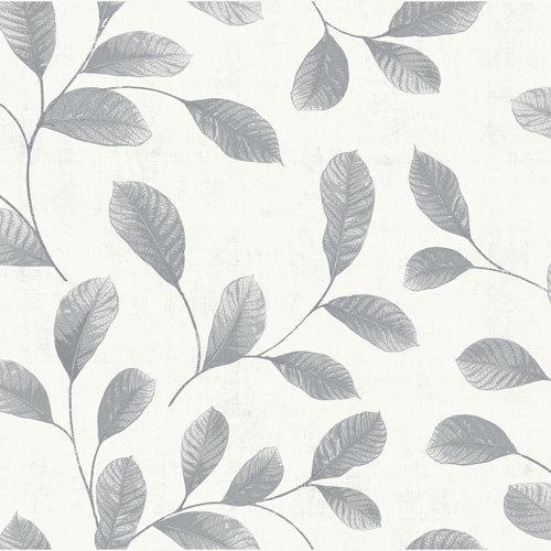 Dutch Wallcoverings Behang Design Leaves White-Grey 12021