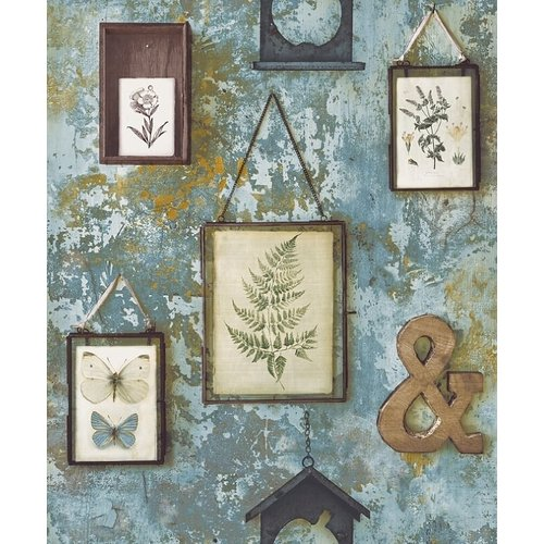 Dutch Wallcoverings Behang Exposure Lijstjes/Deco Blauwgroen Ep2101