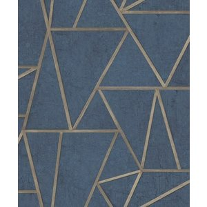 Dutch Wallcoverings Behang Exposure Grafisch Blauw/Goud Ep3704