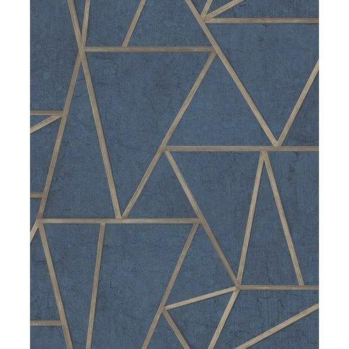 Dutch Wallcoverings Behang Exposure Grafisch Blauw/Goud Ep3704