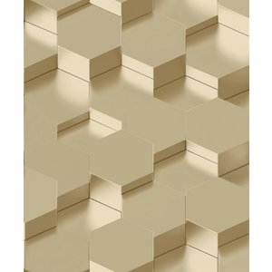 Dutch Wallcoverings Behang Galactik 3D Zeshoek Goud L970-02
