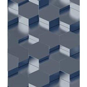 Dutch Wallcoverings Behang Galactik 3D Zeshoek Blauw L970-01