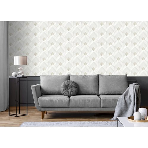 Dutch Wallcoverings Behang Galactik Dessin Wit/Goud L967-00