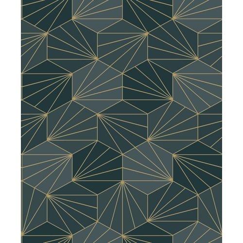 Dutch Wallcoverings Behang Galactik Dessin Groen/Goud L949-01