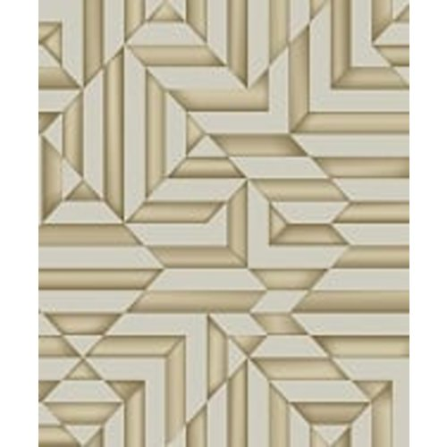Dutch Wallcoverings Behang Galactik Ruit/Streep Beige/Goud L858-08