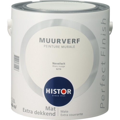 Histor Perfect Finish Muurverf Mat - Nevelwit - 2,5 liter