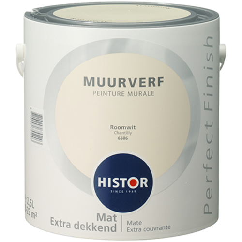 Histor Perfect Finish Muurverf Mat - Roomwit - 2,5 liter