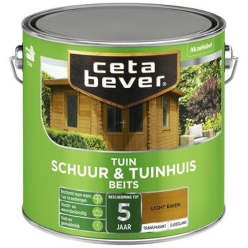 Cetabever Schuur en Tuinhuis Beits Transparant Zijdeglans - Licht Eiken - 2,5 liter