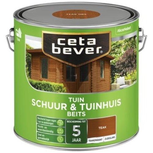 Cetabever Schuur en Tuinhuis Beits Transparant Zijdeglans - Teak - 2,5 liter