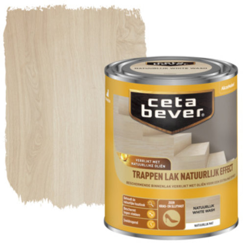 Cetabever Trappen Lak Natuurlijk Effect Mat - White Wash - 0,75 liter