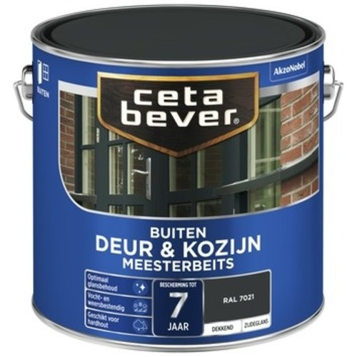 Cetabever Meesterbeits Deur en Kozijn Dekkend Zijdeglans - RAL 7021 - 2,5 liter