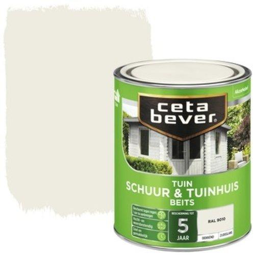 Cetabever Schuur en Tuinhuis Beits Dekkend Zijdeglans - RAL 9010 - 0,75 liter