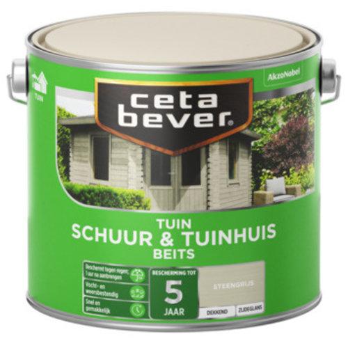 Cetabever Schuur en Tuinhuis Beits Dekkend Zijdeglans - Steengrijs - 2,5 liter