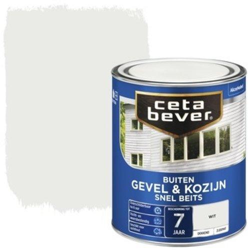 Cetabever Gevel en Kozijn Snel Beits Dekkend Zijdemat - Wit - 0,75 liter