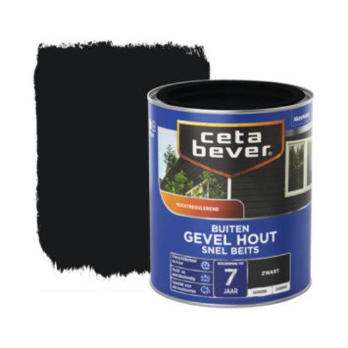 Cetabever Gevel en Kozijn Snel Beits Dekkend Zijdemat - Zwart - 0,75 liter