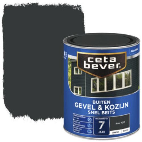 Cetabever Gevel en Kozijn Snel Beits Dekkend Zijdemat - RAL 7021 - 0,75 liter