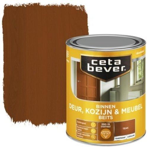 Cetabever Binnenbeits Deur Kozijn en Meubel Transparant Zijdeglans - Teak - 0,75 liter