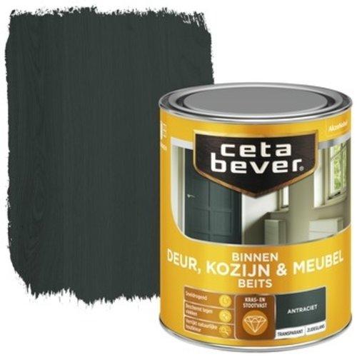 Cetabever Binnenbeits Deur Kozijn en Meubel Transparant Zijdeglans - Antraciet - 0,75 liter