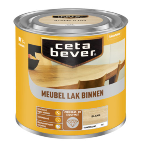 Cetabever Meubel Lak Binnen Transparant Mat - Blank - 0,25 liter