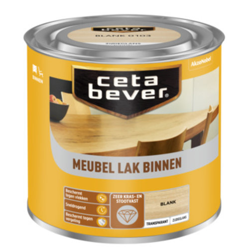 Cetabever Meubel Lak Binnen Transparant Zijdeglans - Blank - 0,25 liter
