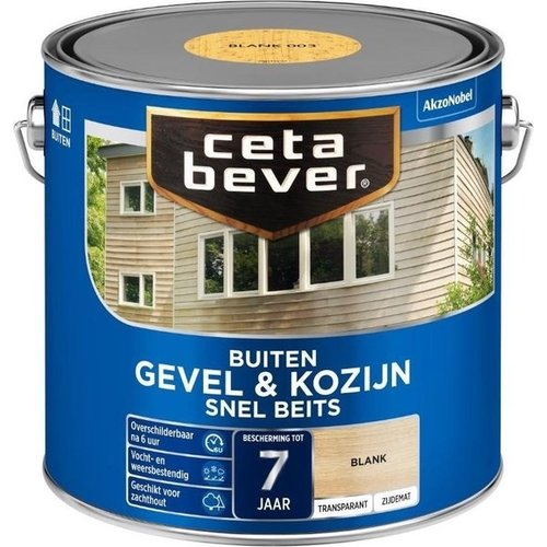 Cetabever Gevel en Kozijn Snel Beits Transparant Zijdemat - Blank - 2,5 liter