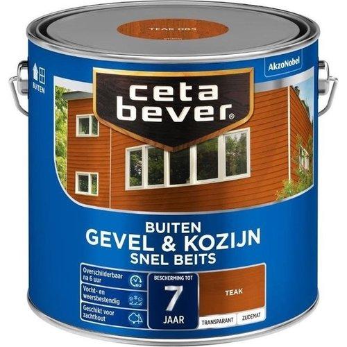 Cetabever Gevel en Kozijn Snel Beits Transparant Zijdemat - Teak - 2,5 liter
