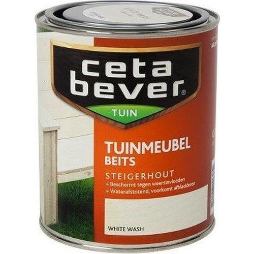 Cetabever Tuin Meubel Beits Steigerhout Transparant Zijdeglans - White Wash - 0,75 liter