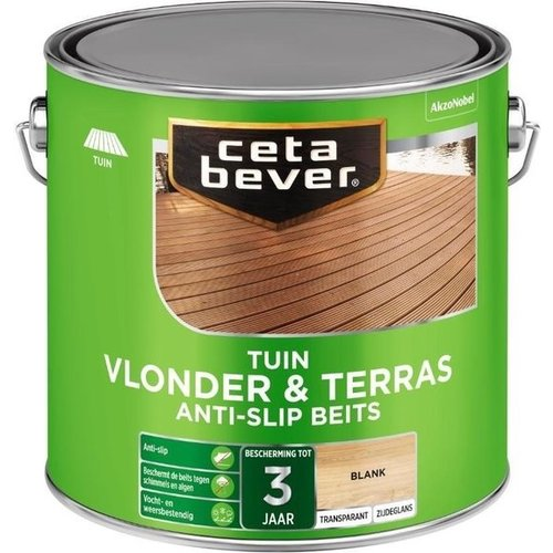 Cetabever Tuin Vlonder en Terras Anti Slip Beits Transparant Zijdeglans - Blank - 2,5 liter