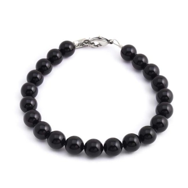 Zwarte armband met 8 mm Swarovski kristal parels