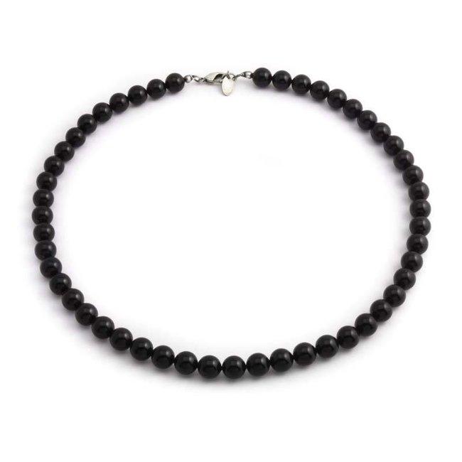 Zwarte ketting met 8 mm Swarovski kristal parels