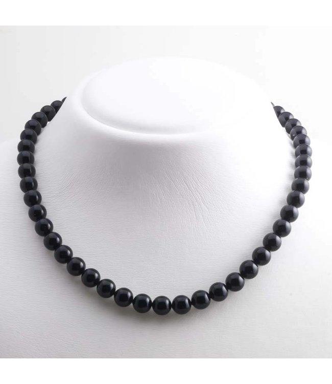 Krikor Zwarte ketting met 8 mm Swarovski kristal parels