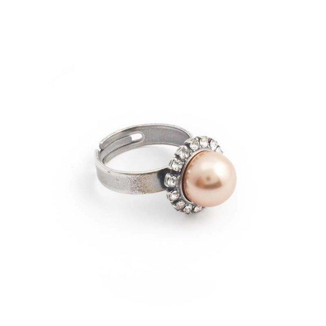 Krikor Goud roze parel ring 10 mm