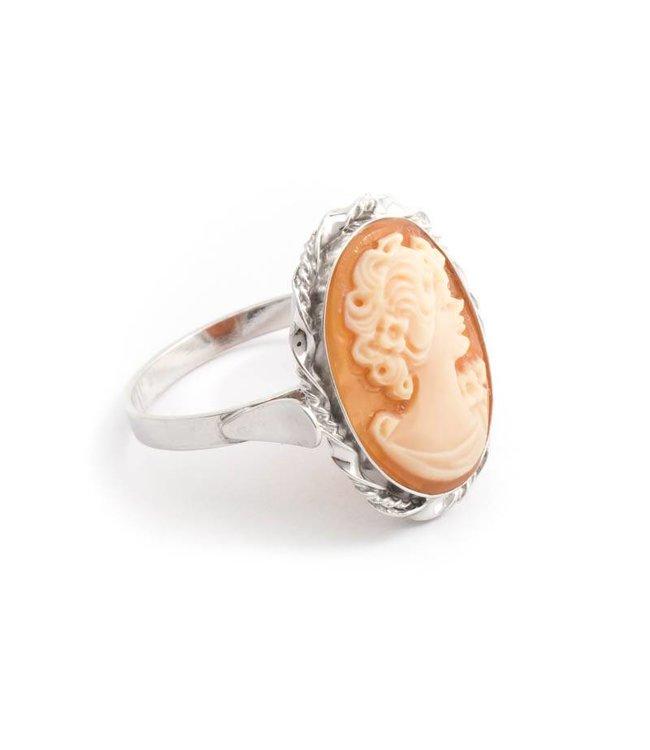 Mario Scognamiglio Sterling zilveren ring met ovale camee - maat 17,75