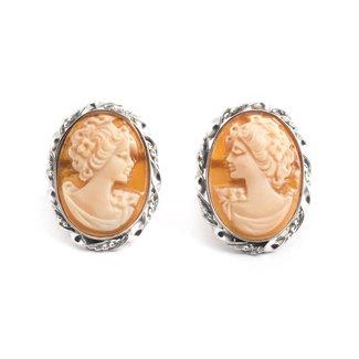 Mario Scognamiglio Zilveren camee oorbellen met stekers