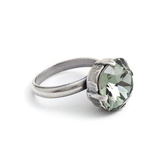 Grijze ring met 12 mm Swarovski kristal