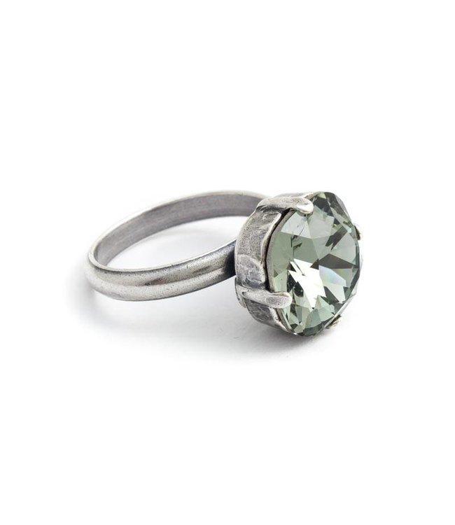 Krikor Grijze ring met 12 mm Swarovski kristal