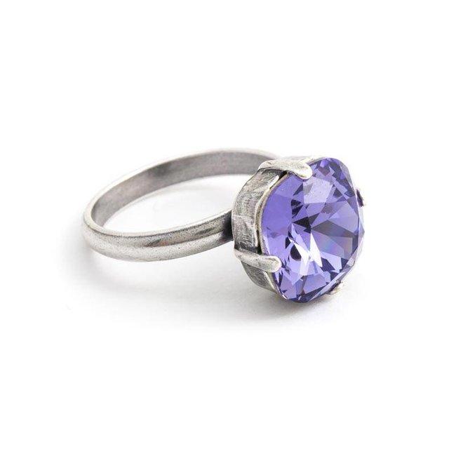 Paarse ring met 12 mm Swarovski kristal