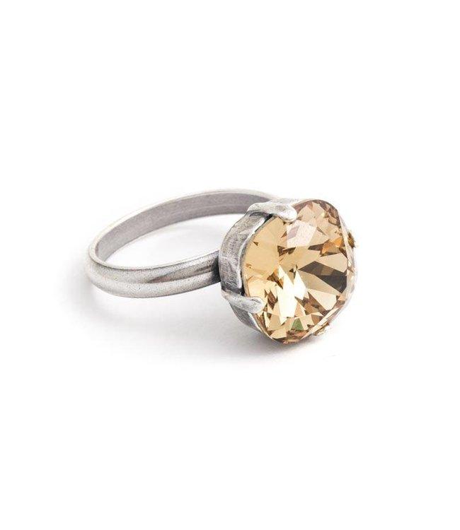 Krikor Beige ring met 12 mm Swarovski kristal