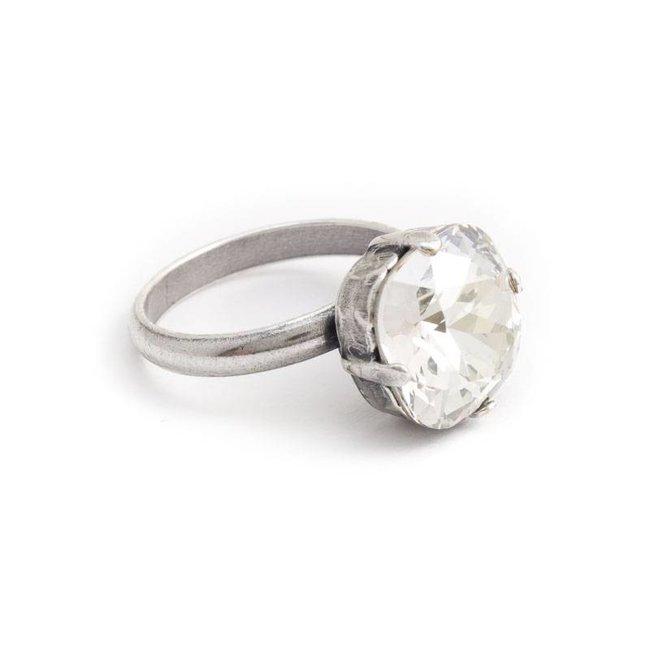 Krikor Licht grijze ring Swarovski kristal