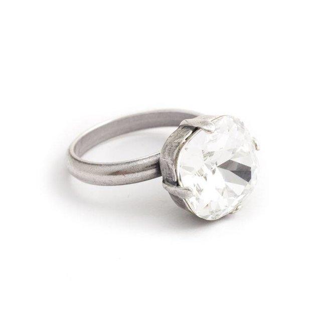 Heldere ring met 12 mm Swarovski kristal