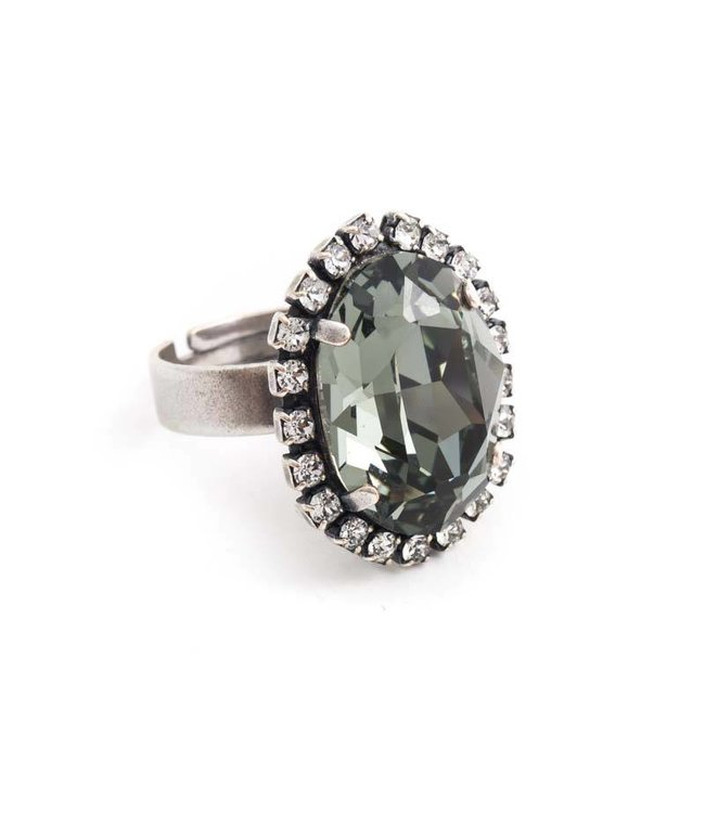 Krikor Ovale grijze ring met Swarovski kristal