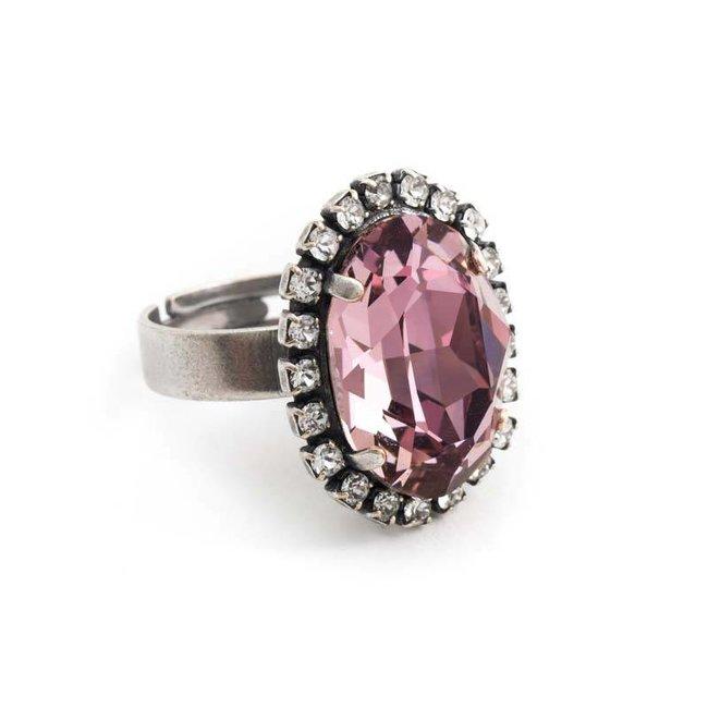 Ovale roze ring met Swarovski kristal