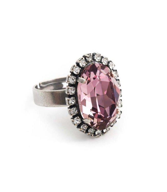 Krikor Ovale roze ring met Swarovski kristal