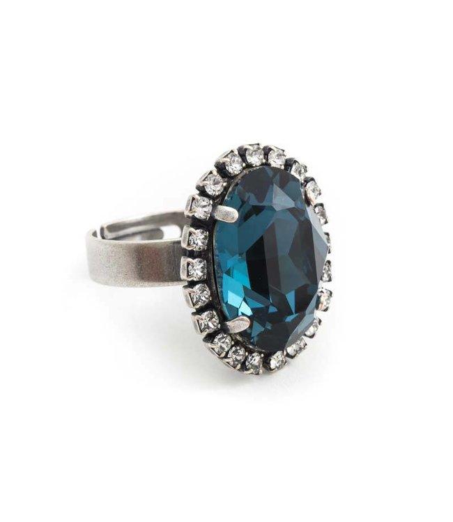 Krikor Ovale blauwe ring met Swarovski kristal